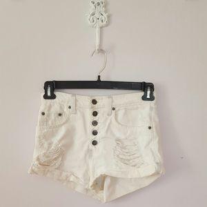 Carmar White Denim Button Up Shorts size 24
